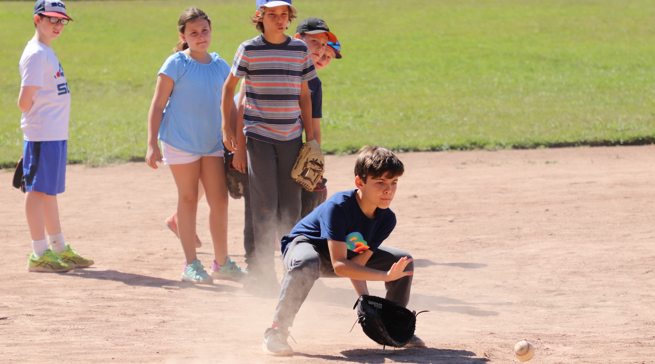 Kids play baseball at Camp Ramah in California. The camp will face a significan shortfall if it needs to refund all of its tuition this year. (Courtesy of Ramah in California)
