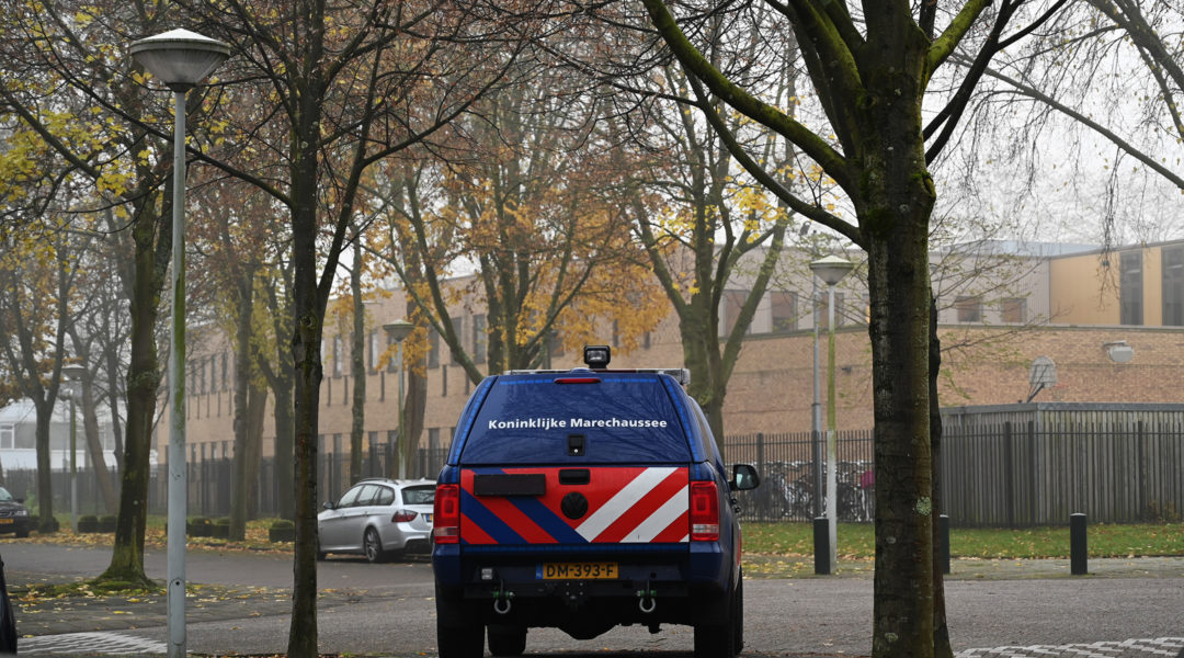A car belonging to the Dutch security forces guarding the Maimonides and Rosj Pina Jewish schools in Amsterdam, the Netherlands on Nov. 25, 2019. (Cnaan Liphshiz)