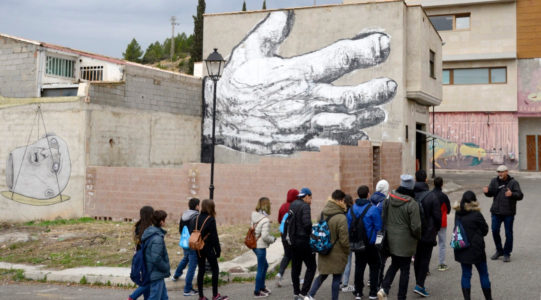 A teacher talking to students in the town of Fanzara, Vaencia, Spain on December 15, 2016. (Jose Jordan/AFP via Getty Images)