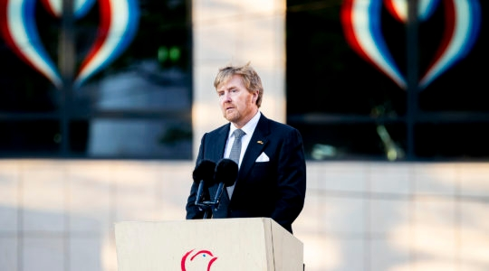 King Willem-Alexander of The Netherlands delivering a speech during the National Remembrance Day ceremony on May 4, 2020 in Amsterdam, Netherlands. (Patrick van Katwijk/BSR Agency/Getty Images)