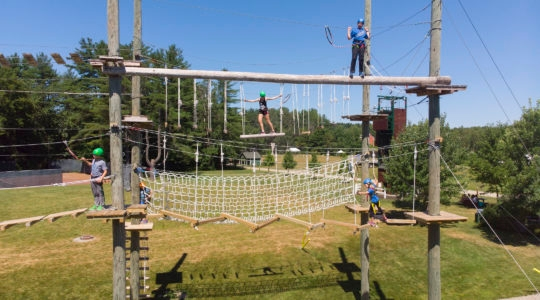 The ropes course at Camp Modin, which has seen a deluge of interest from parents since it announced it was opening last month. (Courtesy of Camp Modin)
