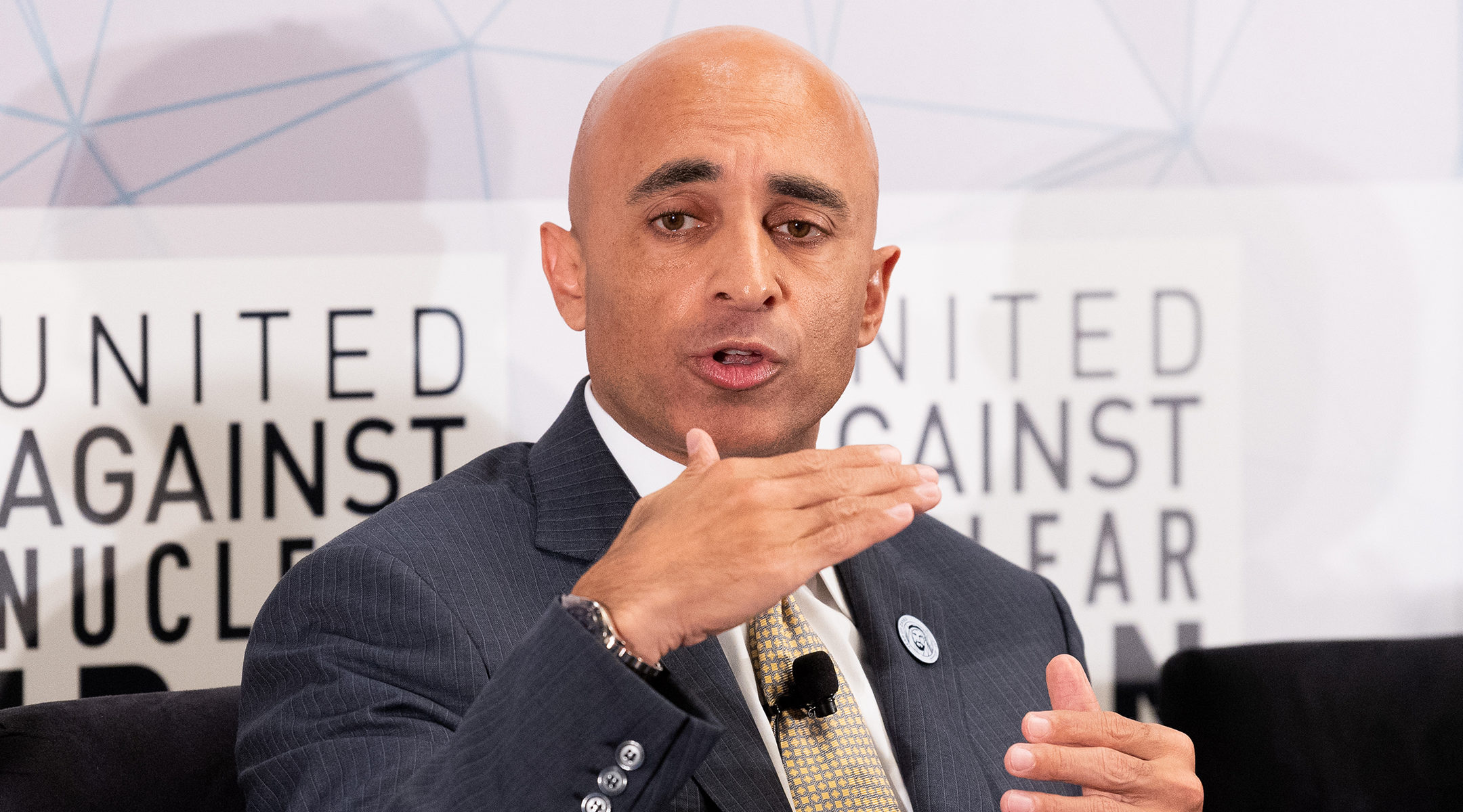 Yousef Al Otaiba, Ambassador of the United Arab Emirates to the United States, speaks at the United Against Nuclear Iran 2018 Summit in New York City. (Michael Brochstein/SOPA Images/LightRocket via Getty Images)