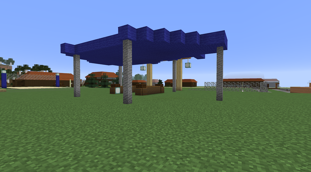 A shot of the campus of Camp Ramah in Canada, recreated on Minecraft. (Courtesy of Jake Offenheim)