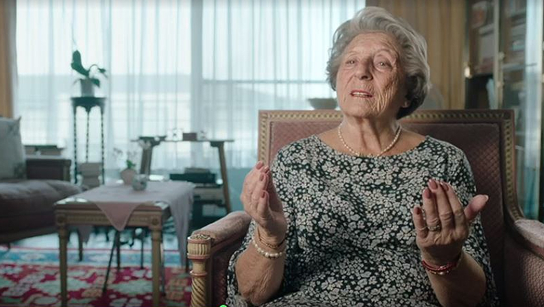 "Holocaust survivor Regina Sluszny tells VRT about her feelings toward Israel during filming in 2019 for the Belgian documentary ""Children of the Holocaust."" (VRT)"