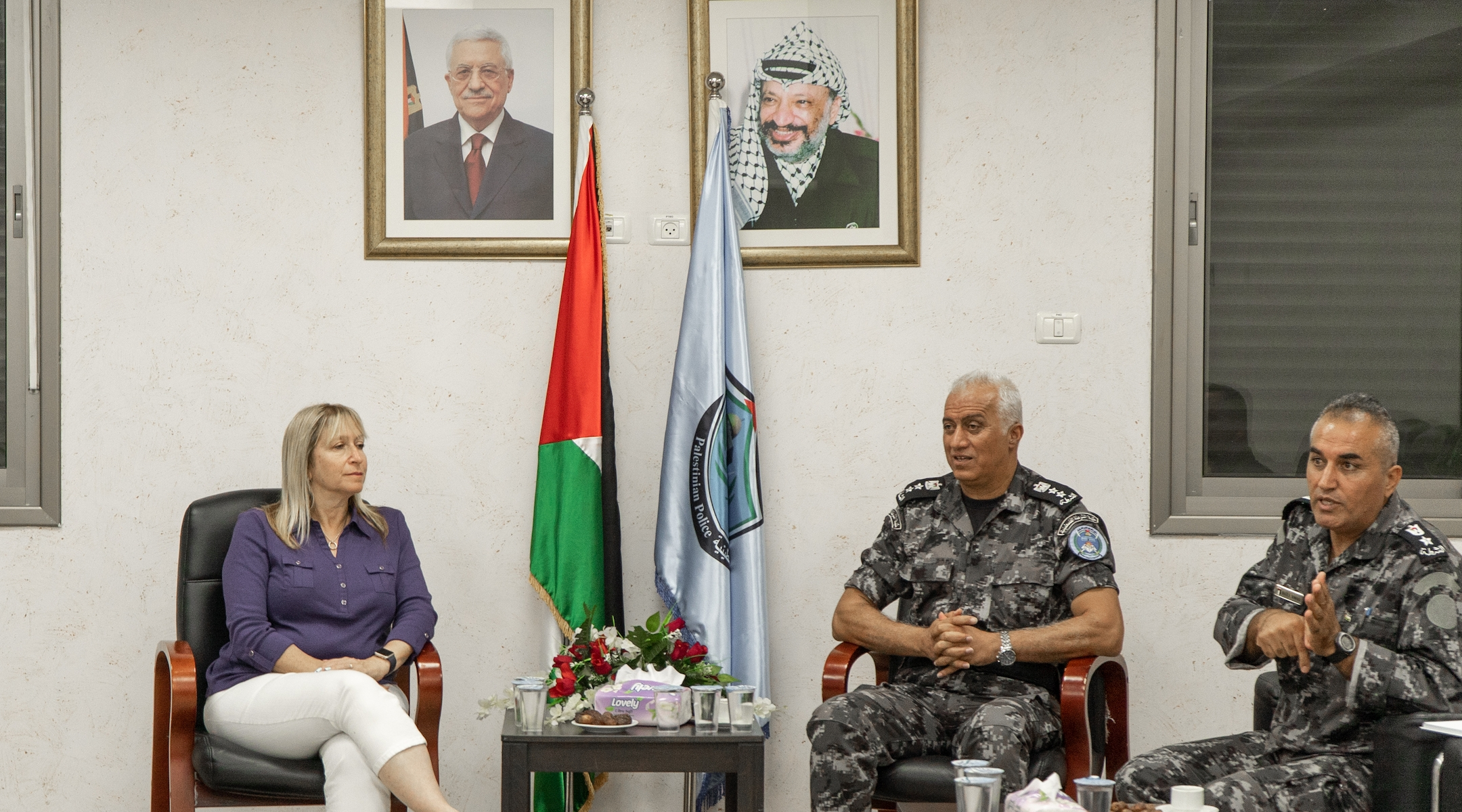 Tammy Gillies, the ADL San Diego regional director, meets with Colonel Zahar Shahaab of the Palestinian College of Police Sciences (right) in Jericho during a 2019 delegation. (Courtesy of the ADL)