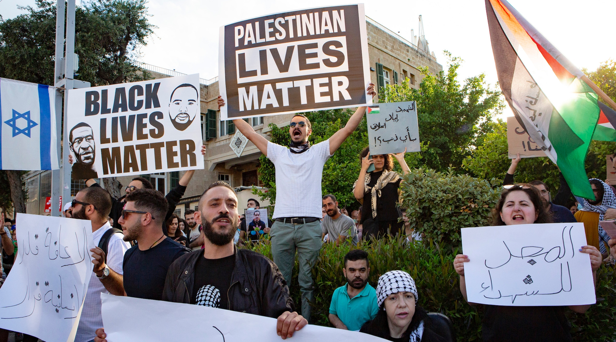 Hundreds of demonstrators in Haifa protest the recent Israeli police killing of an unarmed autistic Palestinian man, Iyad el-Hallak, on Tuesday, June 2 , 2020. Protesters in Israel and the United States have sought to link police violence in both countries. (Mati Milstein/NurPhoto via Getty Images)