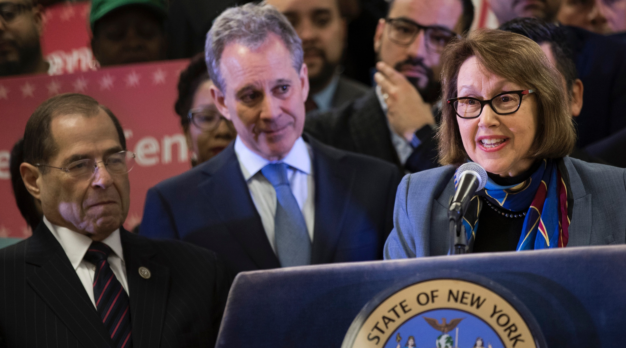 Oregon Attorney General Ellen Rosenblum speaks at a press conference to announce a multi-state lawsuit to block the Trump administration from adding a question about citizenship to the 2020 Census form in New York City on April 3, 2018. (Drew Angerer/Getty Images)