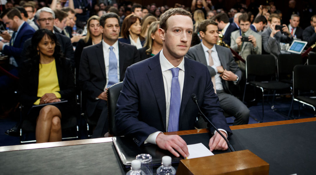Facebook CEO Mark Zuckerberg testifies at a joint hearing of the Senate Judiciary and Commerce committees on Capitol Hill in Washington D.C., on April 10, 2018. Later that year, the Anti-Defamation League would start to pivot from collaborating with Facebook to pressuring it on its hate speech policies. (Xinhua/Ting Shen via Getty Images)
