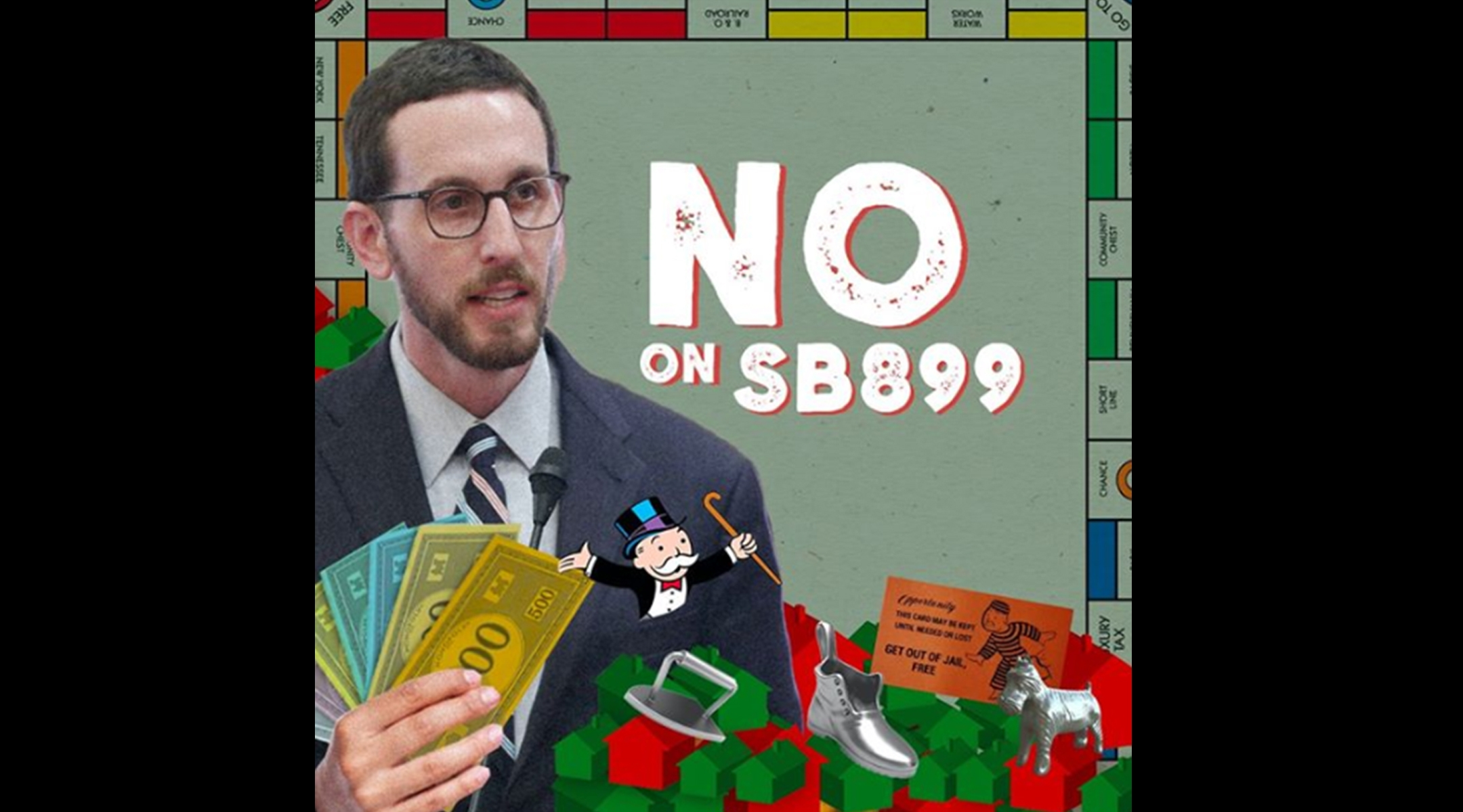 Facebook ad showed a Jewish California state senator clutching Monopoly money