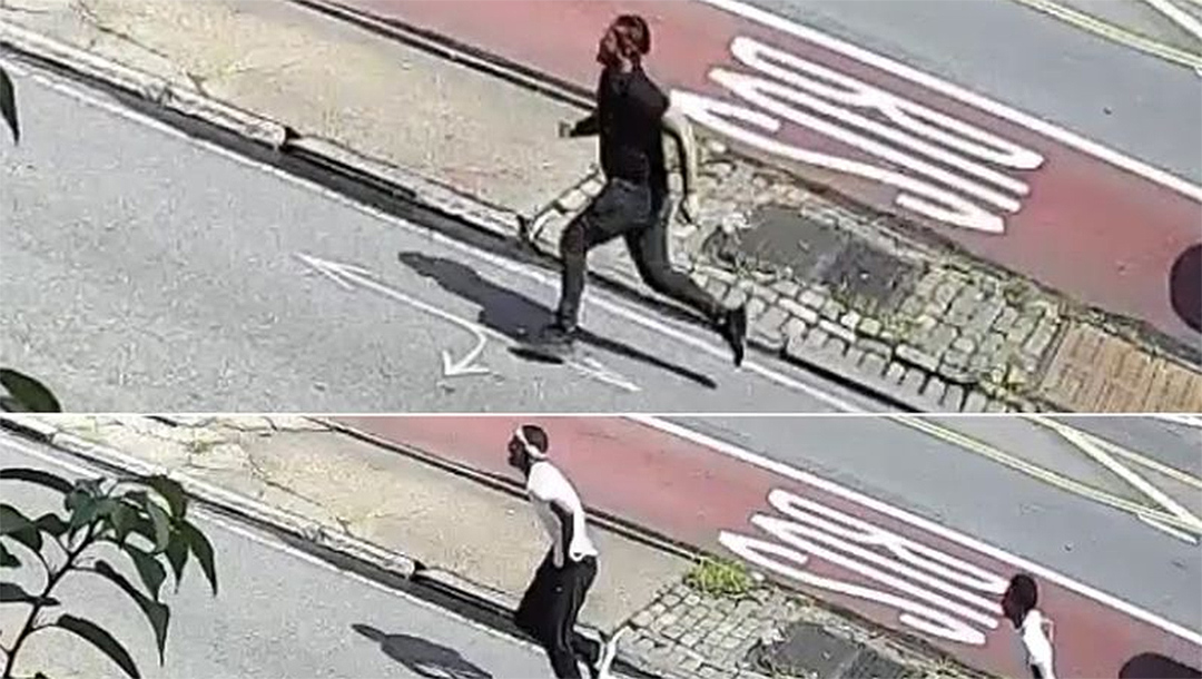 Three suspects run in Brooklyn in security camera footage that police said documents an anti-Semitic attack. (NYPD)