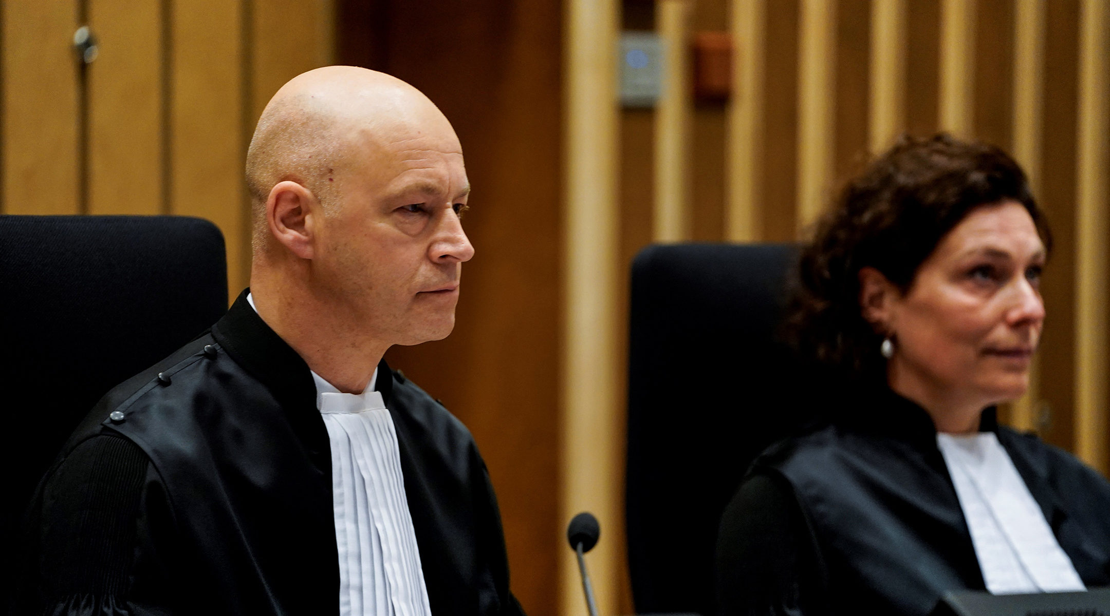 A Dutch judge, Hendrik Steenhuis, presides over a hearing at Schiphol Judicial Court (JCS) complex in Badhoevedorp, the Netherlands on March 9, 2020 (Kenzo Tribouillard/AFP via Getty Images)