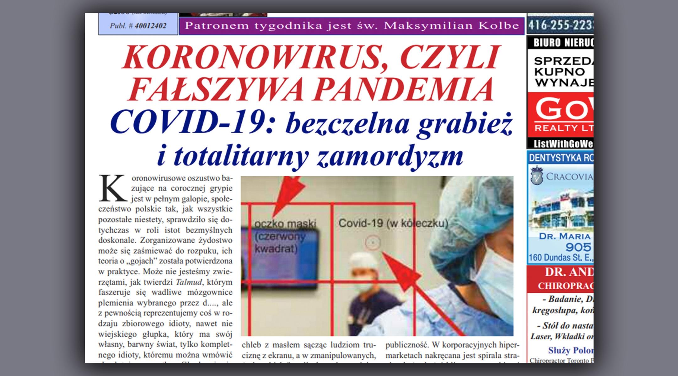 Polish-language newspaper in Toronto blames Jews for the pandemic