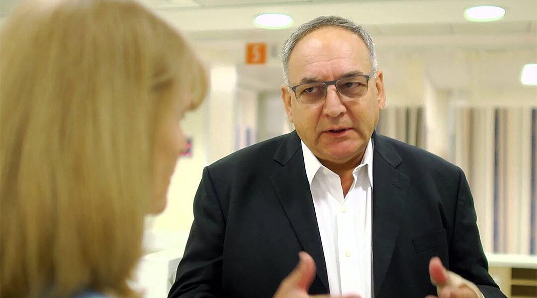 Dr. Zeev Rotstein speaks to journalist Ellen Hershkinin at Hadassah Hospital in Jerusalem, Israel in 2016. (Hadassah International/YouTube)