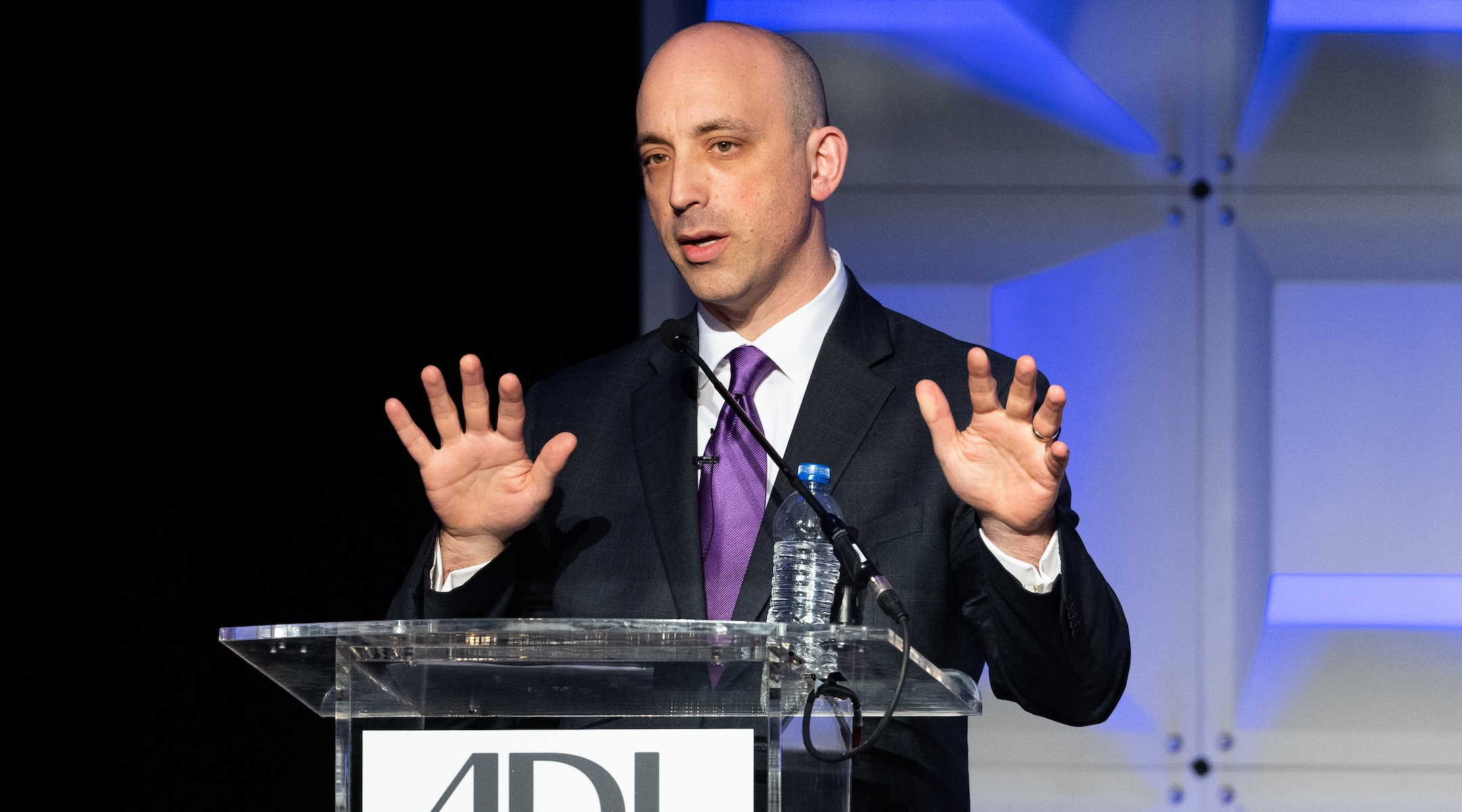 Anti-Defamation League CEO Jonathan Greenblatt speaks at the group's 2018 National Leadership Summit in Washington, DC. (Michael Brochstein/SOPA Images/LightRocket via Getty Images)