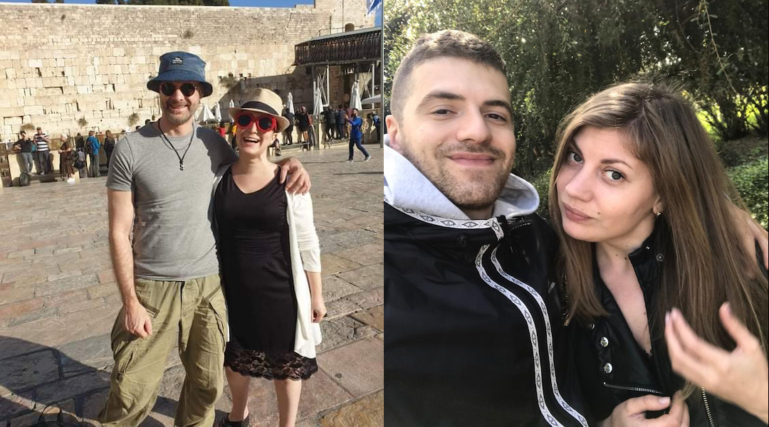 Left: Plia Kettner and her partner, Erik, at the Western Wall in Jerusalem. (Courtesy of Kettner) Right: Andrey and Polinka Belikov, who got married in October. (Courtesy of Andrey Belikov)