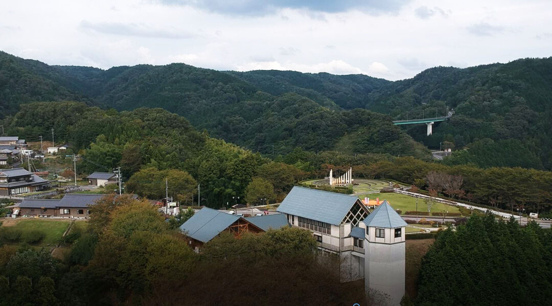 A view to the Chiune Sugihara museum in Gifu district, Japan and the peace monument behind it. (Cnaan Liphshiz)