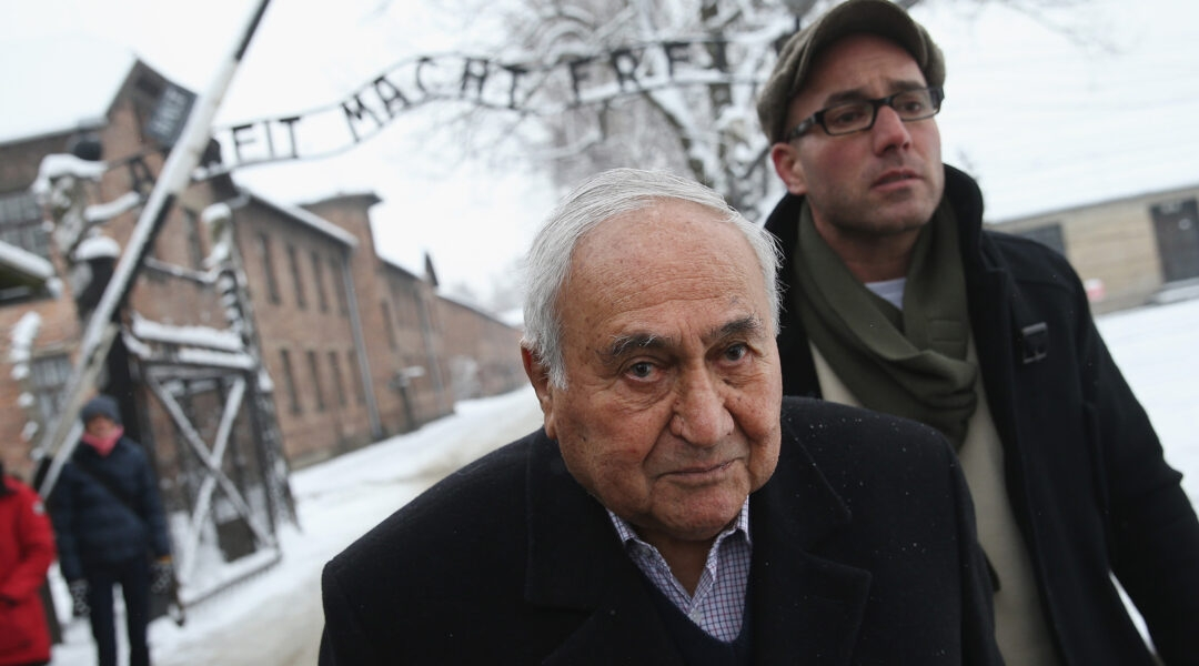 Gabor Hirsch visits the former Auschwitz I concentration camp in Poland on January 26, 2015 (Sean Gallup/Getty Images)