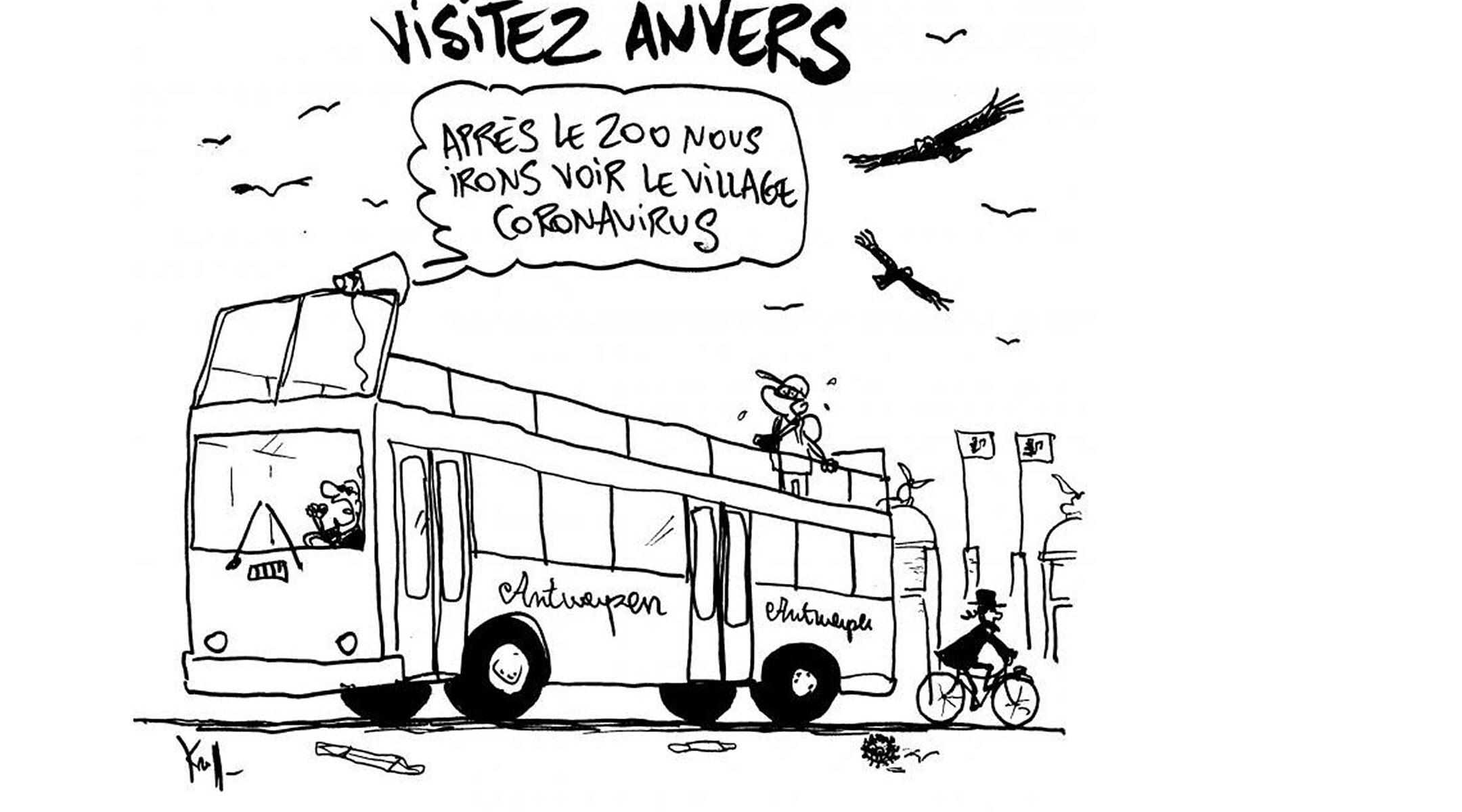 Les vautours survolent un homme juif à Anvers, en Belgique, dans une caricature du 7 août 2020 que les critiques qualifient d'antisémite. (Pierre Kroll / Le Soir)
