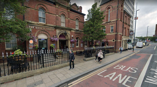 Pedestrians walks past the Hedley Verity pub in Leeds, the United Kingdom. (Google Maps)