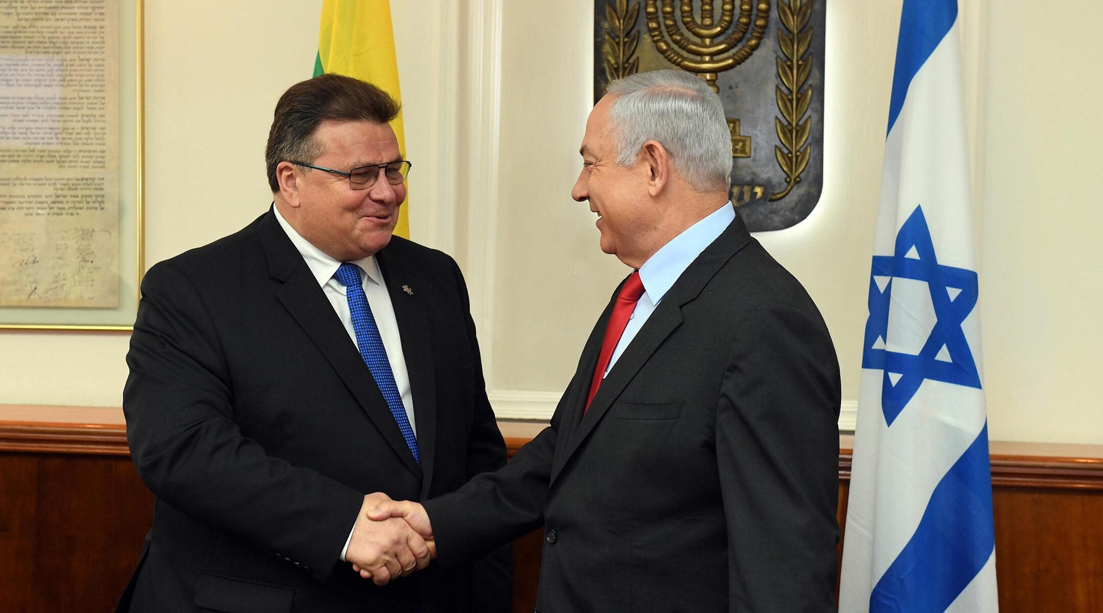 Israeli Prime Minister Benjamin Netanyahu meets Lithuanian Foreign Minister Linas Antanas Linkevičius in Jerusalem, Israel on Sept. 4, 2017. (Haim Zach/GPO)