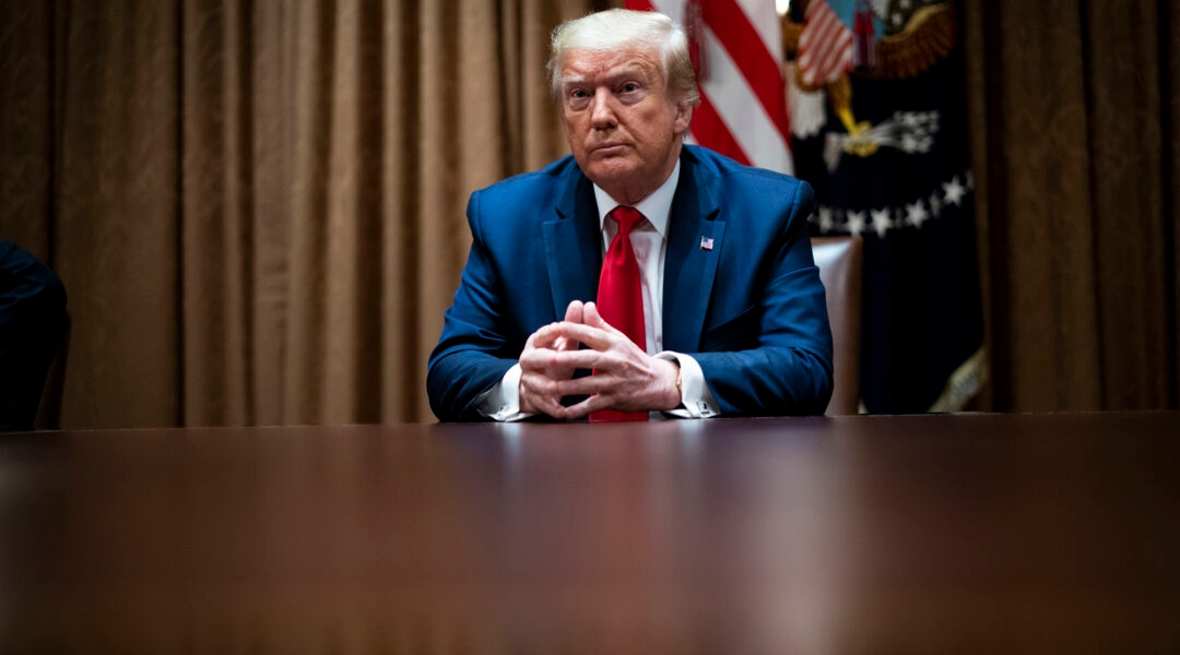 President Donald Trump speaks during a round table discussion with African American supporters in the Cabinet Room of the White House in Washington, DC on June 10, 2020. (Doug Mills-Pool/Getty Images)