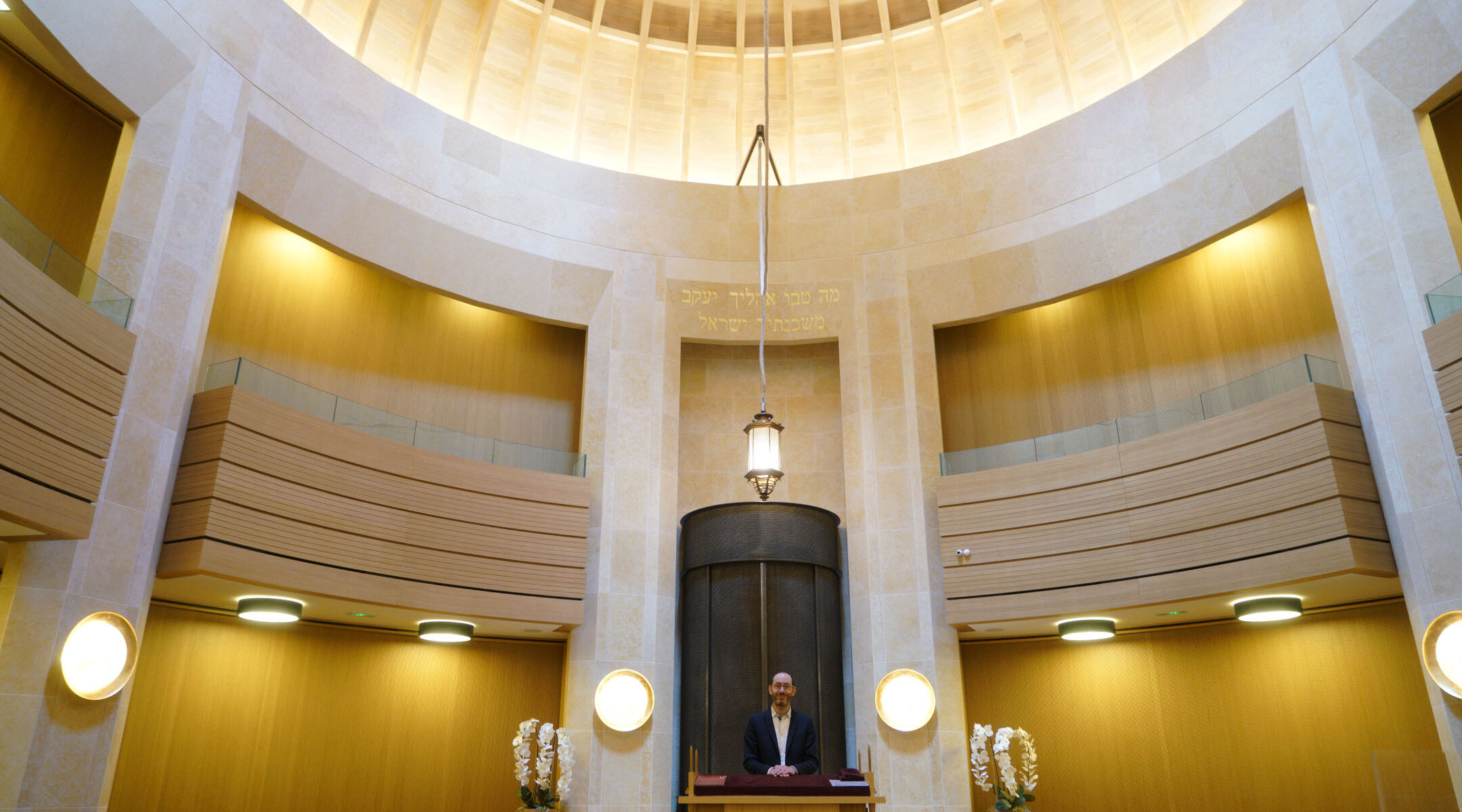 Rabbi Daniel Torgmant prays at the Synagogue Edmond Safra in Monaco on March 7, 2018. (Cnaan Liphshiz)