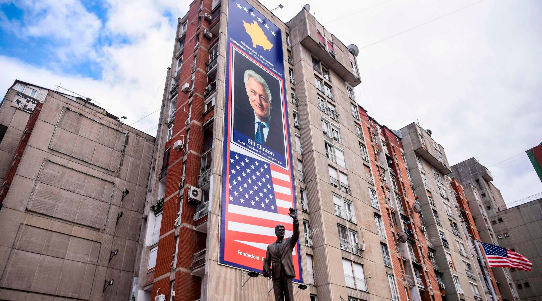 A statue of former US President Bill Clinton is pictured at a boulevard named after him, in Pristina, Kosovo, June 23, 2020. With streets named after U.S. presidents and stars and stripes flying in the capital, Kosovars do not wear their love of America lightly. (Armend Nimani/AFP via Getty Images)