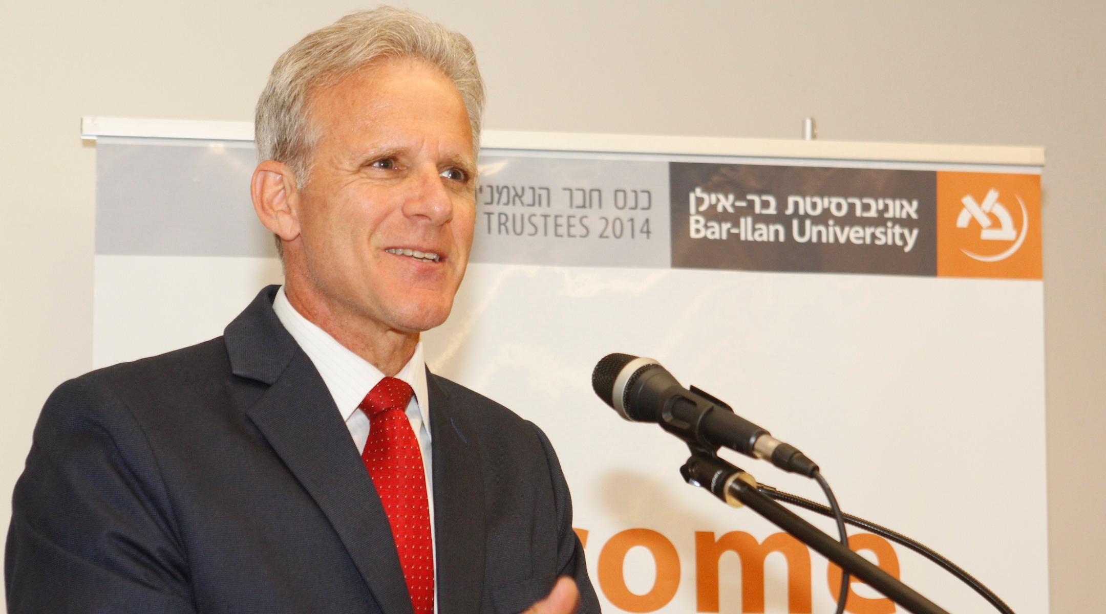 Michael Oren speaks at Bar-Ilan University in Israel in 2014. (Yoni Reif)