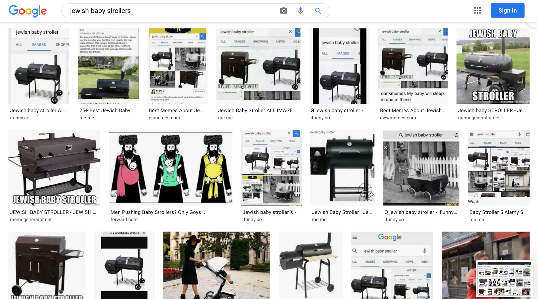 A Google search for 'Jewish baby strollers' yields anti-Semitic images. An extremist campaign may be...