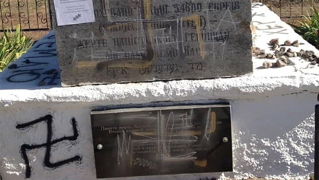 3 Holocaust monuments vandalized with swastikas in Ukraine and Russia