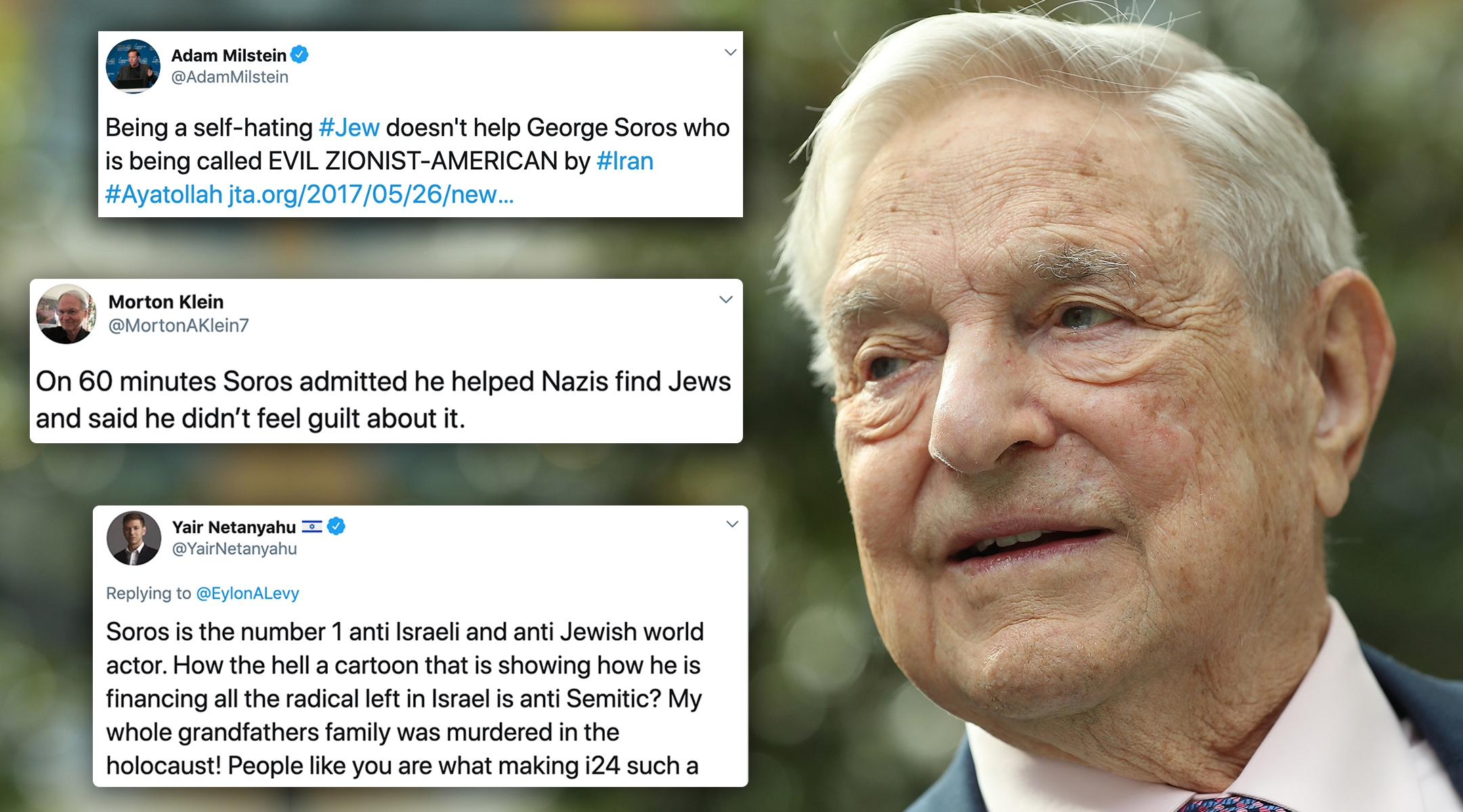 George Soros, the Jewish-American financier and liberal philanthropist, has been attacked by prominent right-wing Jews in addition to being a target of anti-Semites. (Photo credit: Sean Gallup/Getty Images. Photo illustration: Laura E. Adkins/JTA)