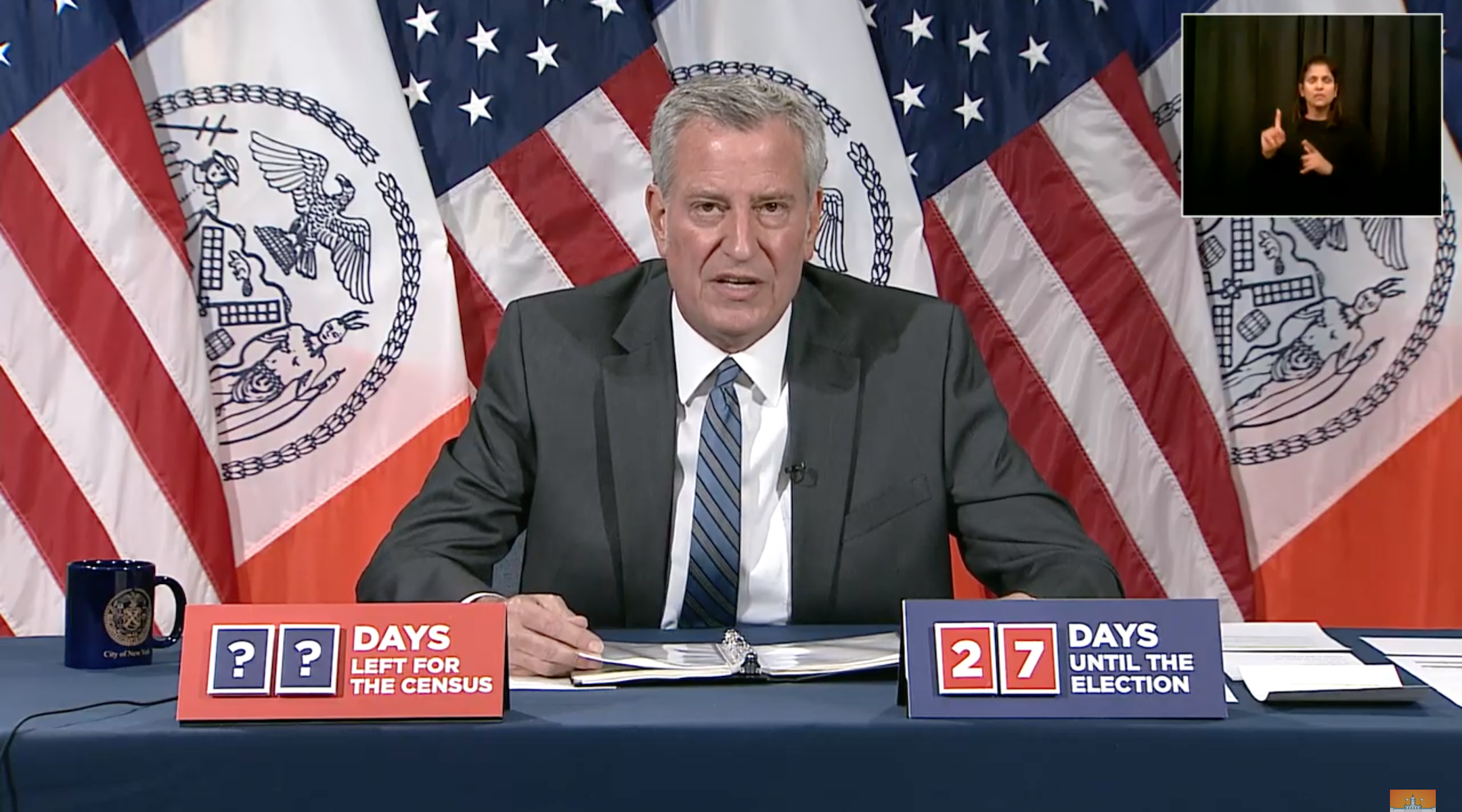New York City Mayor Bill de Blasio speaks at a press conference about COVID-19 on Oct. 7, 2020. (Screenshot)