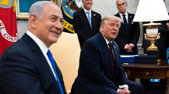 President Donald Trump and Israeli Prime Minister Benjamin Netanyahu participate in a meeting in the Oval Office on September 15, 2020, on the occasion of signing normalization agreements with the United Arab Emirates and Bahrain. (Doug Mills/Pool/Getty Images)