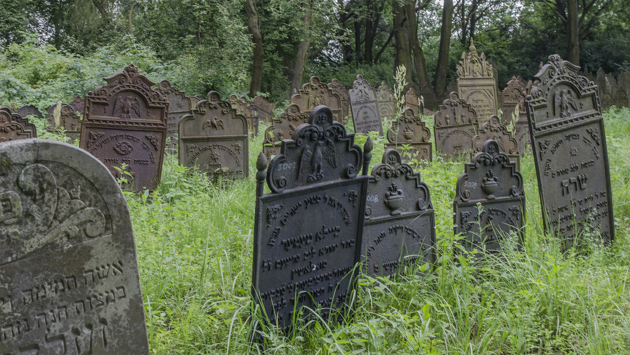 Cast-iron headstones at the Jewish cemetery of Krzepice in Poland. (Wikimedia Commons/Amidar)