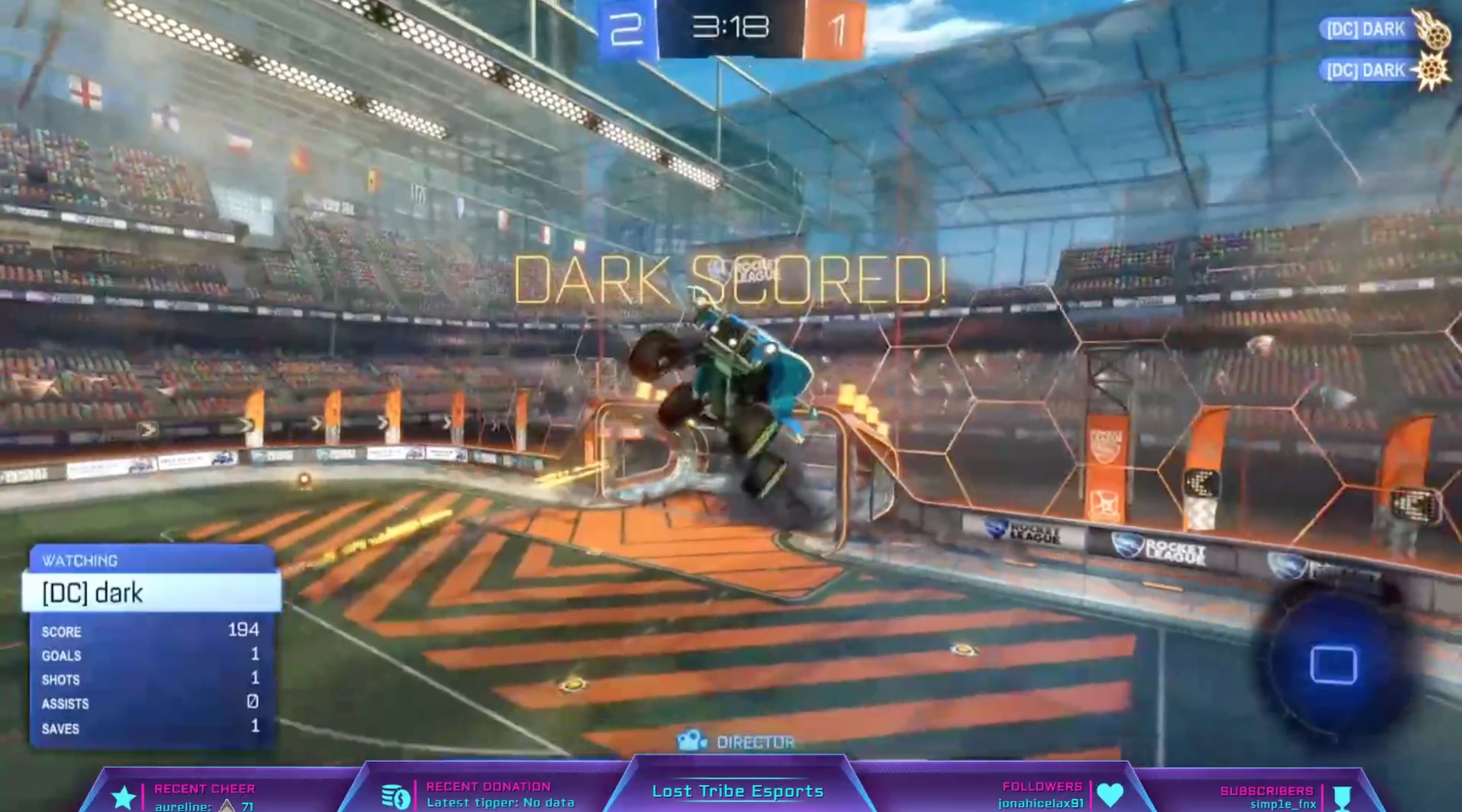 A screenshot from a Lost Tribe Esports tournament where participants played Rocket League, a game in which flying cars play soccer. (Screenshot)