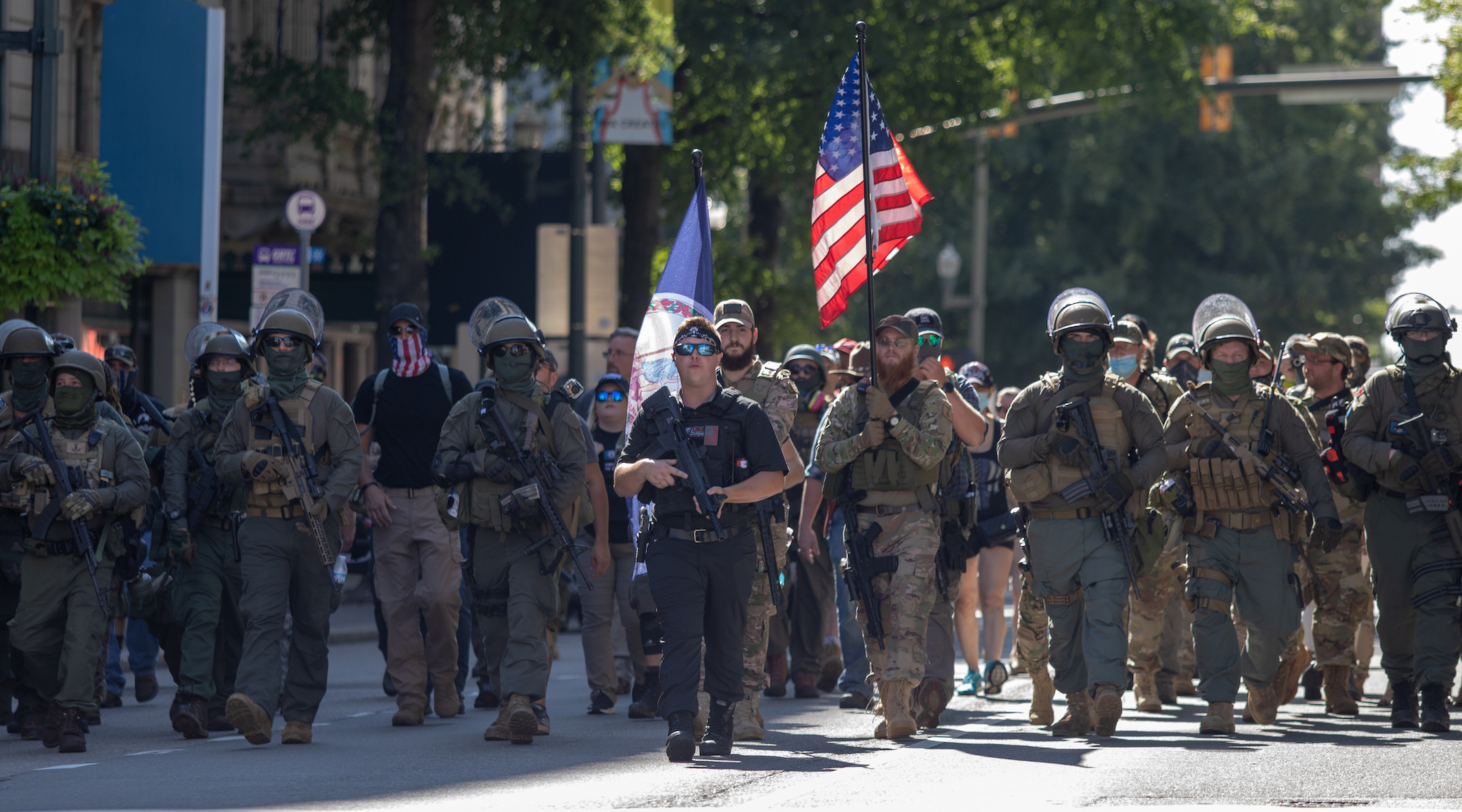 Armed gun rights protesters, led by a member of the far-right Boogaloo boys, march in Richmond, Virginia on August 18, 2020. (Chad Martin/LightRocket via Getty Images)
