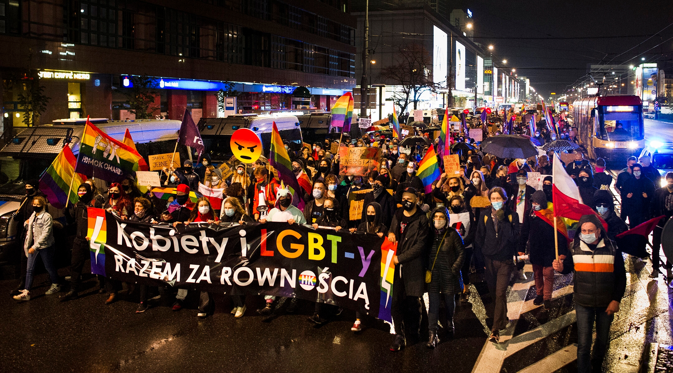 Demonstrators protesting a Polish high court's ban on abotions in Warsaw, Poland on October 29, 2020. (Piotr Lapinski/NurPhoto via Getty Images)