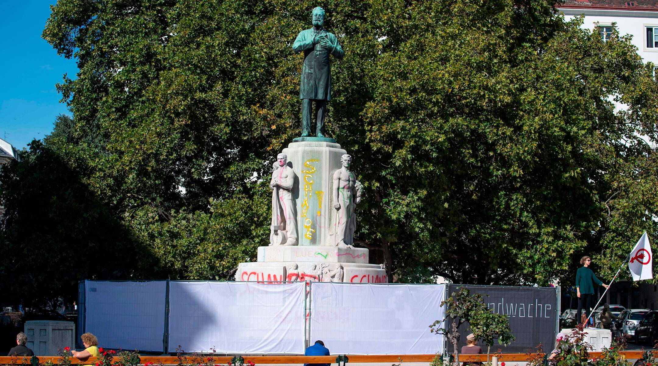 A fence surrounds the the statue of the anti-Semitic former mayor of Vienna Karl Lueger in Vienna, Austria on October 6, 2020(Joe Klamar/AFP via Getty Images)