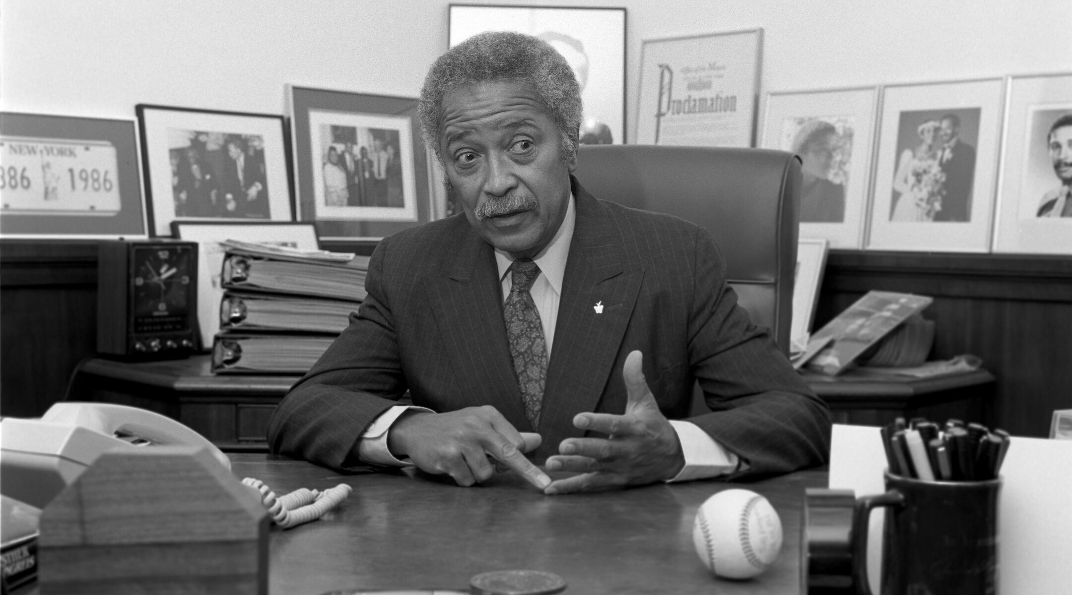 David Dinkins, pictured here in 1986, was elected New York City's first black mayor in 1989. (Karjean Levine/Getty Images)
