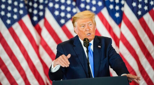 President Donald J. Trump speaks during an election event at the White House in the early morning hours on November 4, 2020 in Washington, D.C. Liberal Jews fear that even if the president is defeated, his ideology has not been repudiated. (Jabin Botsford/The Washington Post via Getty Images)