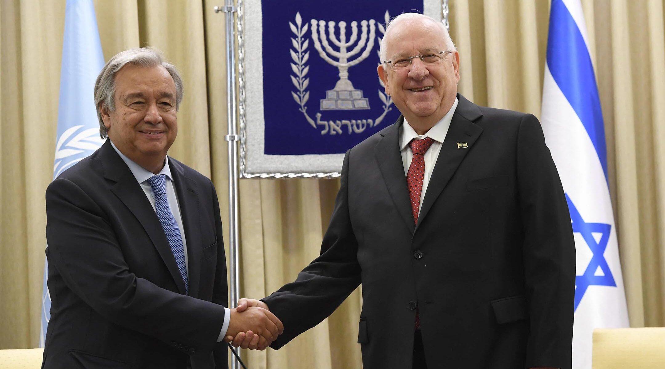 Reuven Rivlin and Antonio Guterres, left, meet in Jerusalem, Israel on Aug. 28, 2017. (Amos Ben Gershom/GPO)