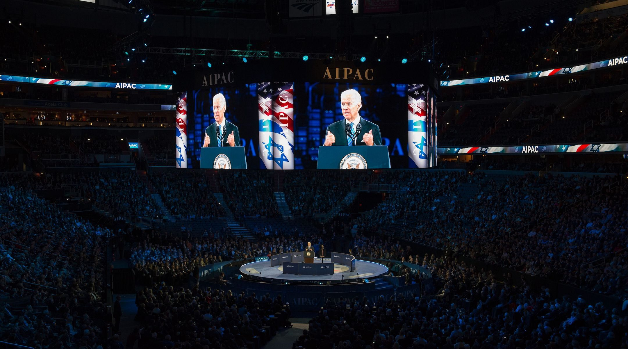 Joe Biden, then vice president, speaks at the AIPAC 2016 Policy Conference on March 20, 2016 in Washington, DC. (Molly Riley/AFP via Getty Images)