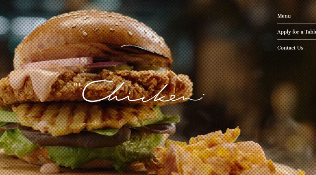 A chicken burger advertized on the website the The Chicken, a restaurant that serves lab-grown meat in Nes Tziona, Israel. (screenshot)