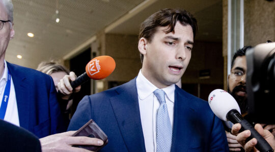 Dutch right-wing leader of Forum for Democracy party Thierry Baudet speaks to the press in the Senate of the Netherlands in the Hague on February 5, 2020. (Sem Van Der Wal/ANP/AFP via Getty Images)