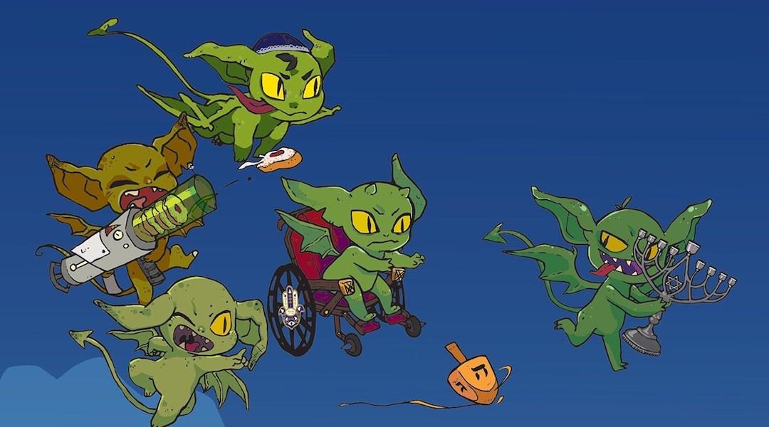"""Game designer Max Fefer based Hanukkah Goblins on Eric Kimmel's classic children's book, """"Hershel and the Hanukkah Goblins."""" (Art/Kali Hayes, KH Illustration)"""
