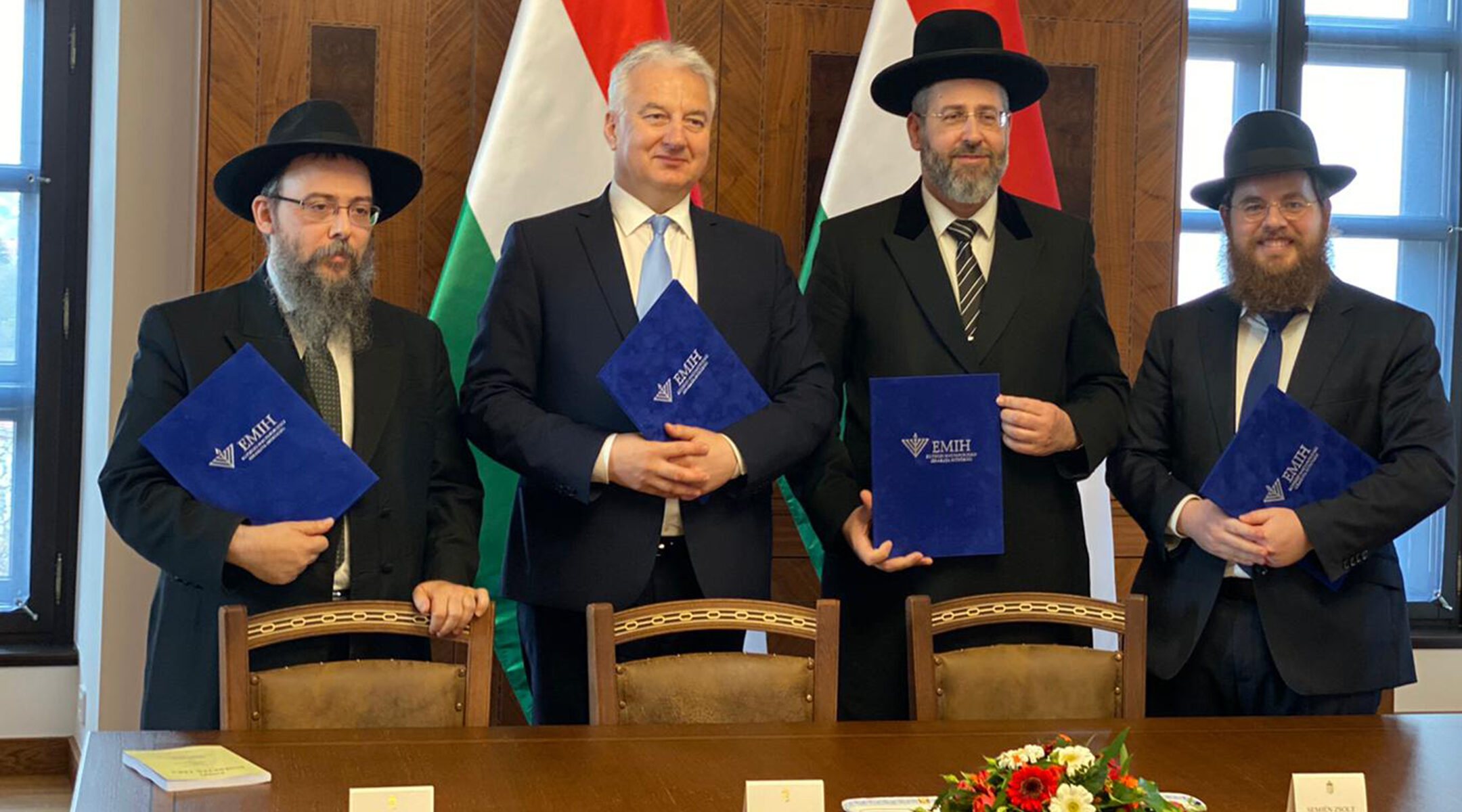 Hungarian Deputy Prime Minister Zsolt Semjén, second from left, meets with rabbis in Budapest, Hungary on Nov. 18, 2019. (EMIH)