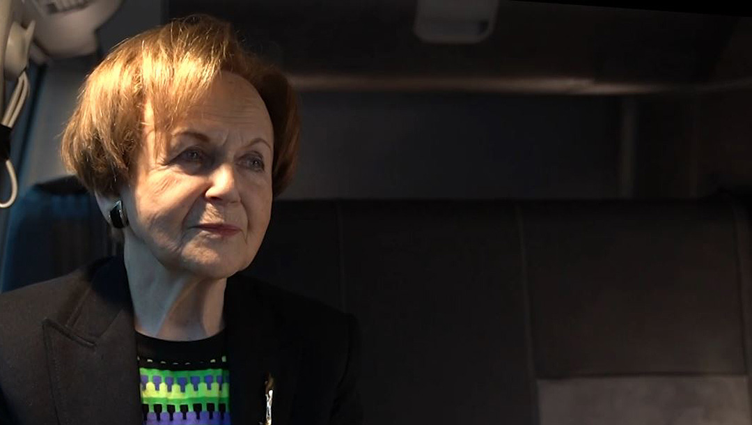 Mala Tribich tells about her survival of the Holocaust inside the Learning from the Righteous mobile studio in London, UK in December 2020. (Learning from the Righteous)