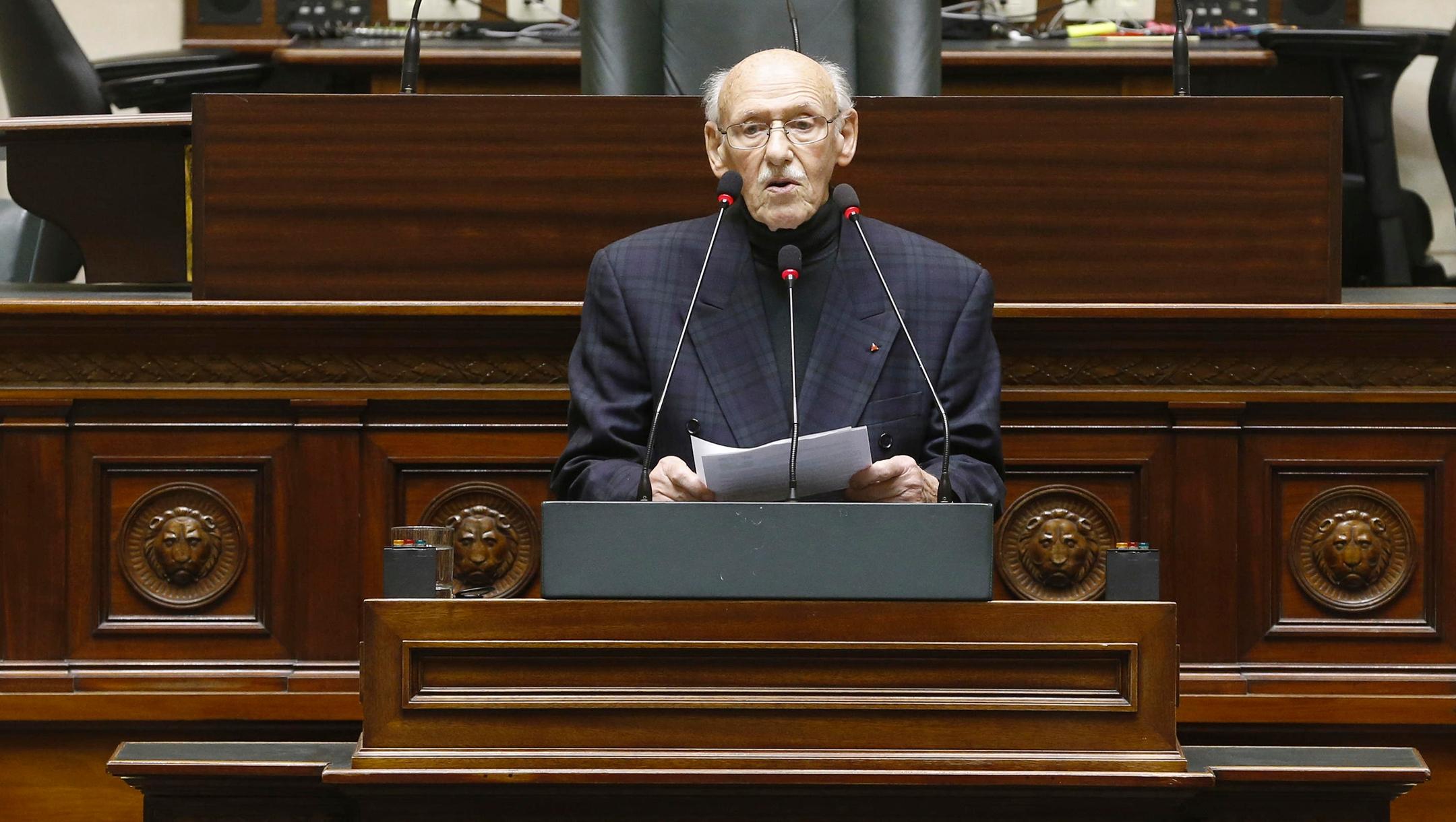Paul Sobol speaks at the Federal Parliament in Brussels, Belgium on January 23, 2018(Nicolas Maeterlinck/AFP via Getty Images)