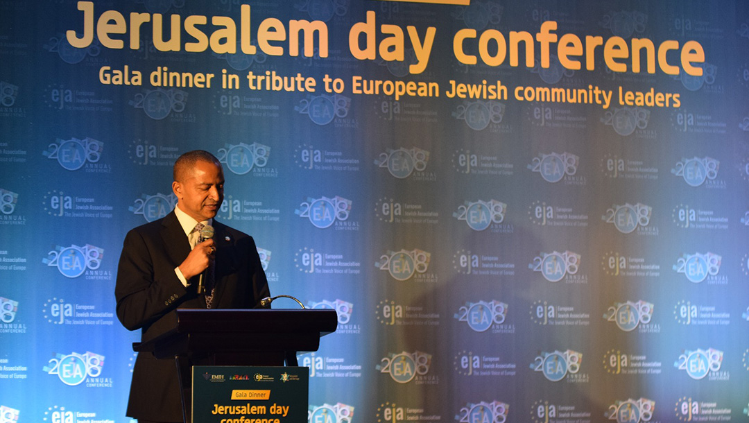 Moises Katumbi speaks at the European Jewish Association's Jerusalem Day gala in Brussels, Belgium on June 4, 2016. (Courtesy of the European Jewish Association.)