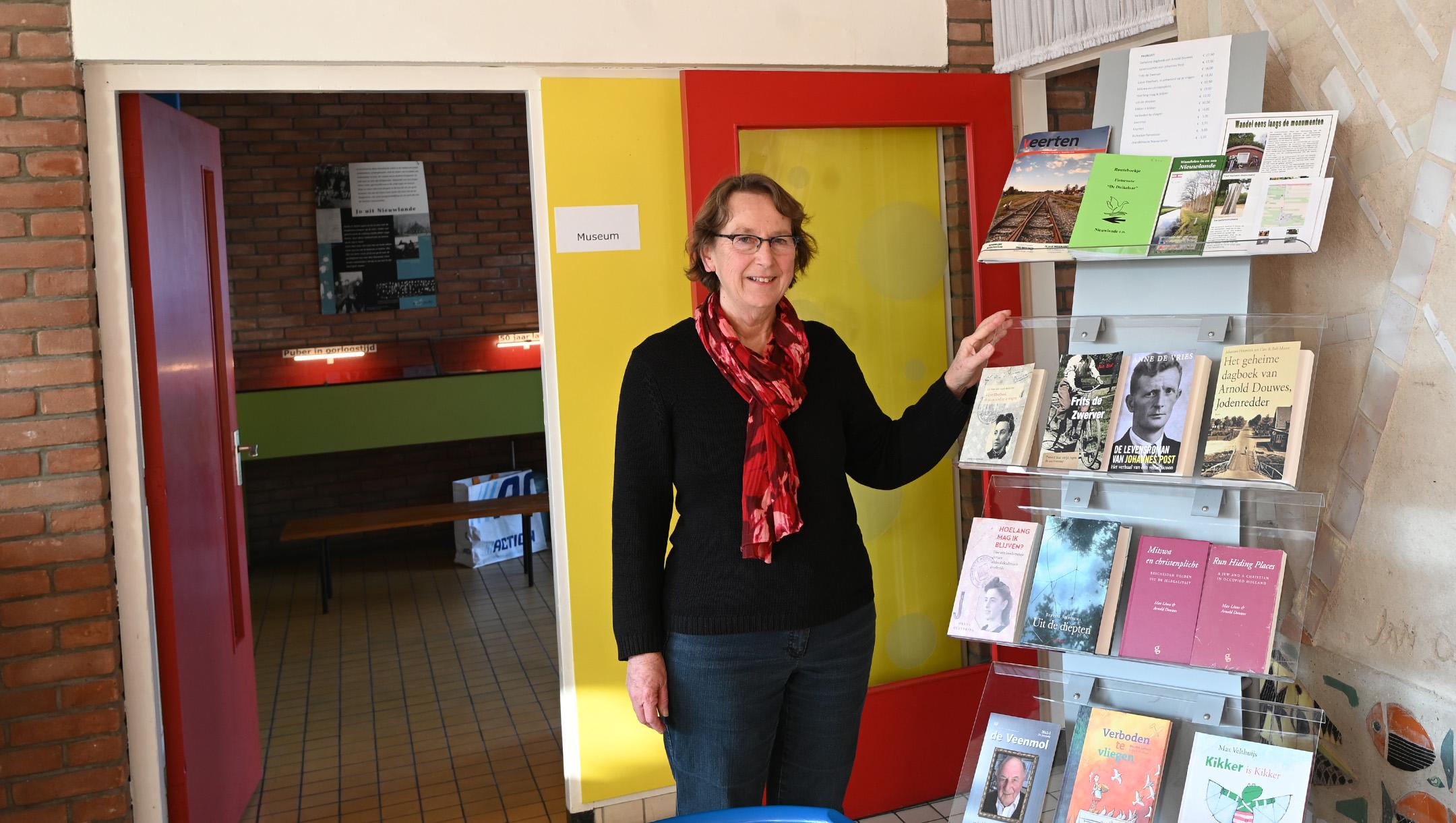 Hanneke Rozema greets visitors at the De Duikelaar museum in Nieuwlande, the Netherlands on Jan. 25, 2021. (Cnaan Liphshiz)